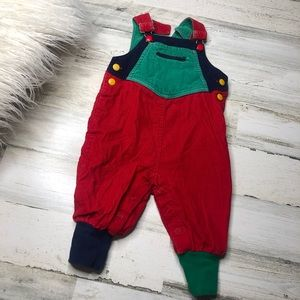 Vintage overalls bibs size 12M Red Blue Green